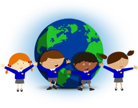 Children standing around a globe